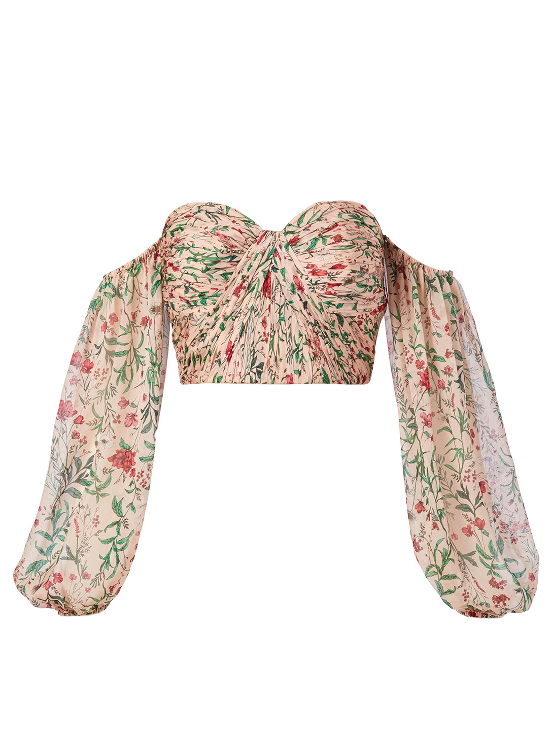 AMUR Helena Silk Off-The-Shoulder Bustier Top In Floral Print H Project Pink