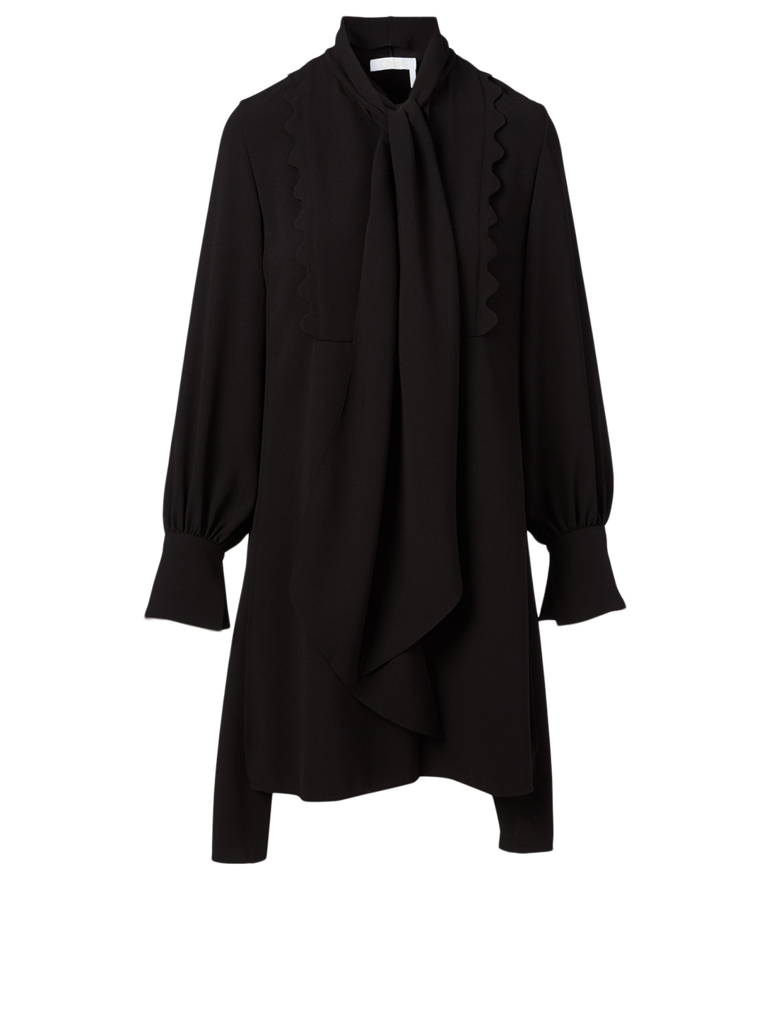 CHLOÉ Long-Sleeve Dress With Tie Neck Women's Black