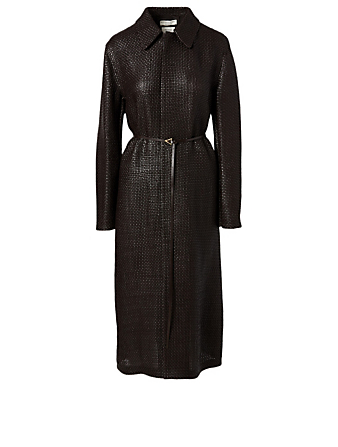 BOTTEGA VENETA Leather Midi Coat Women's Brown