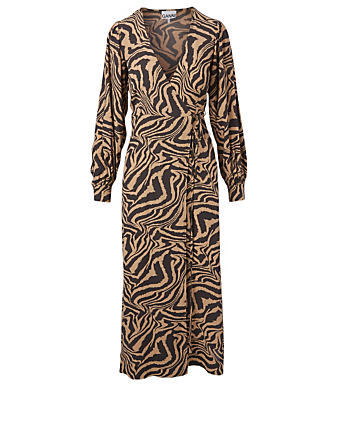 GANNI Wrap Midi Dress In Tiger Print Women's Beige