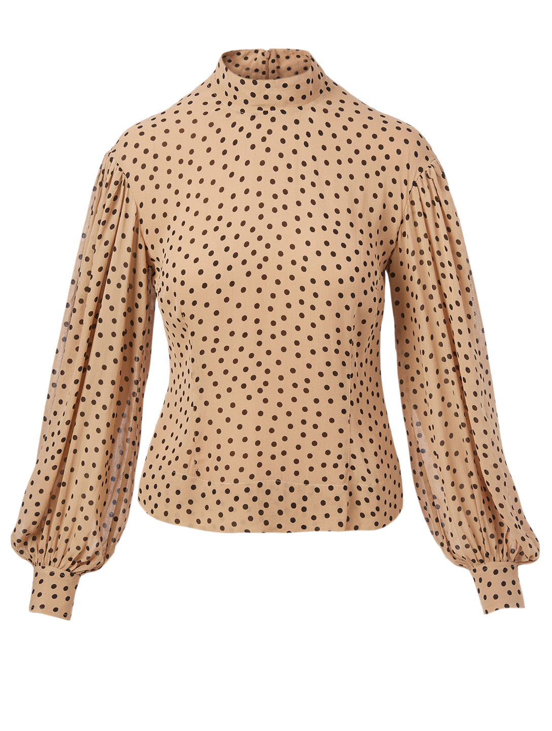GANNI Georgette Blouse In Polka Dot Print Women's Beige