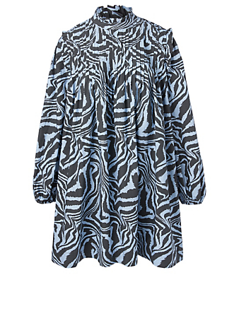 GANNI Cotton Mini Dress In Tiger Print Women's Blue