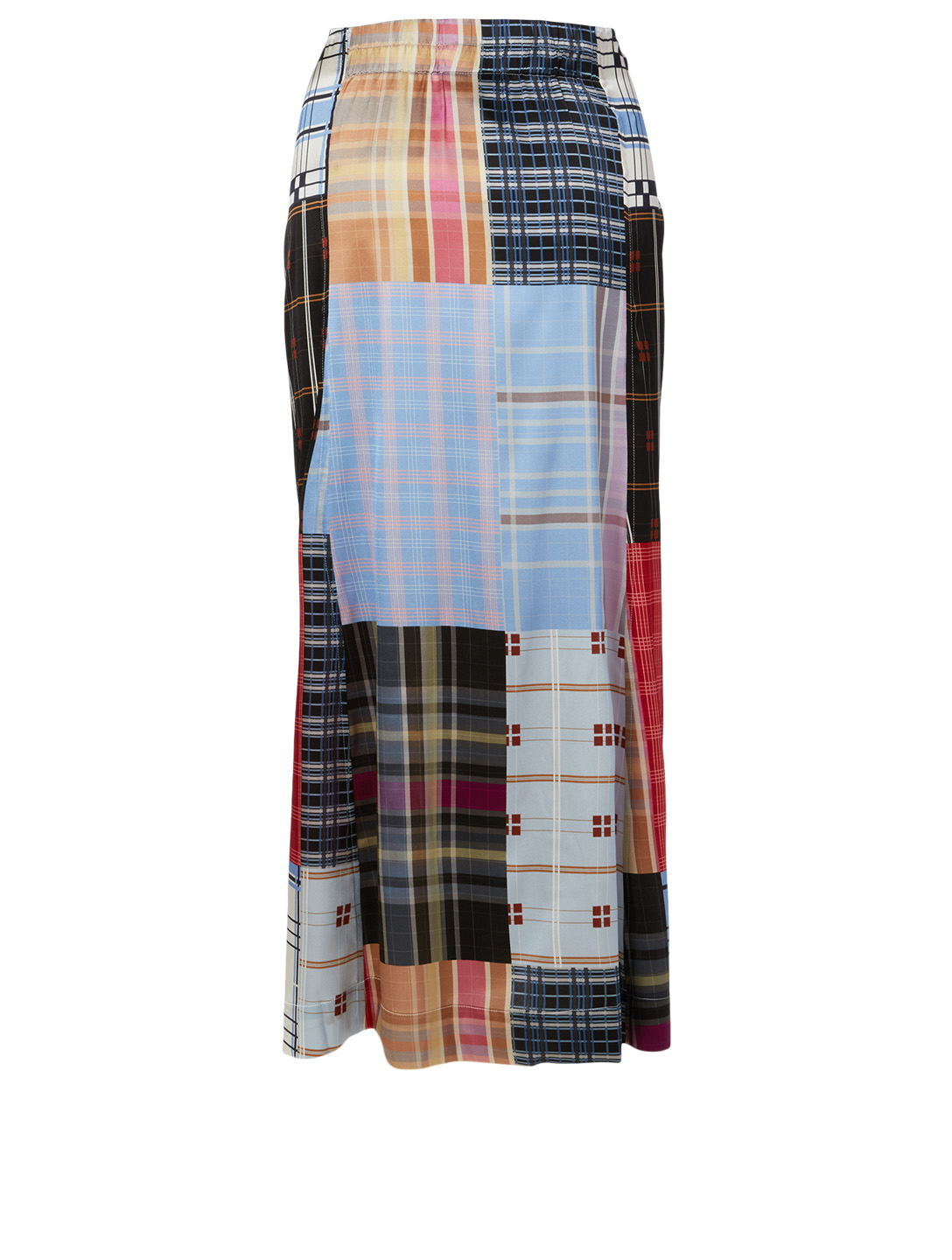 GANNI Silk Stretch Skirt In Patchwork Print Women's Blue