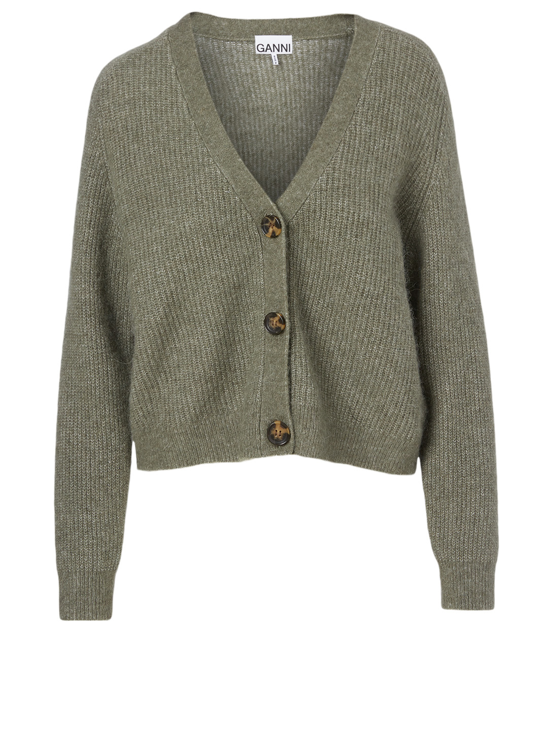 GANNI Alpaca And Wool Cardigan Women's Green