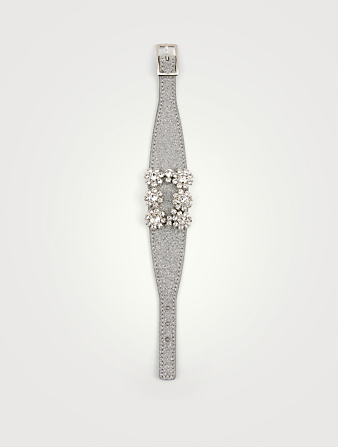 ROGER VIVIER Flower Strass Glitter Leather Bracelet Women's Metallic