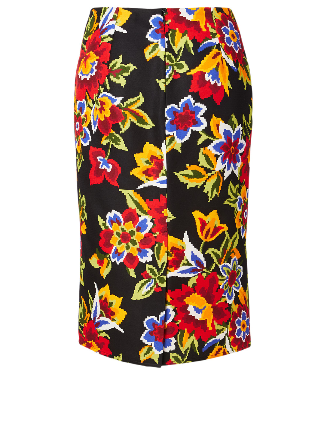 CAROLINA HERRERA Cotton And Silk Pencil Skirt In Floral Print Women's Black