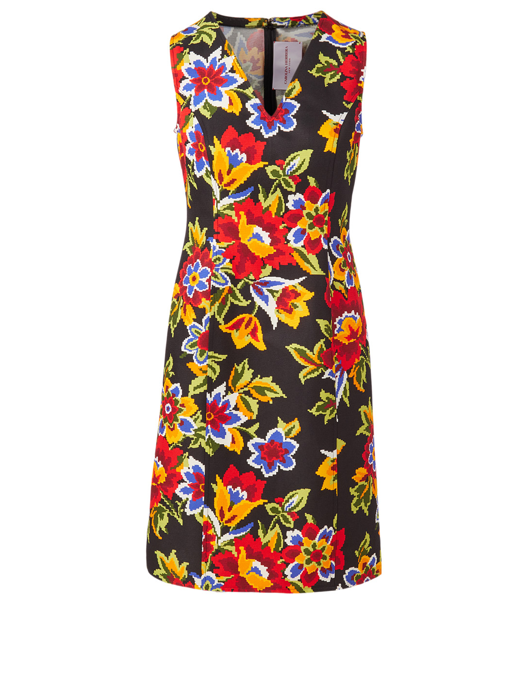 CAROLINA HERRERA Cotton And Silk Dress In Floral Print Women's Black