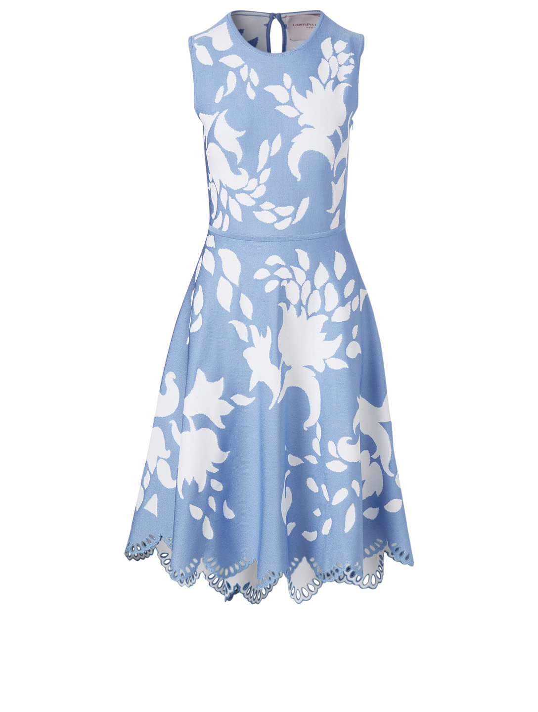 CAROLINA HERRERA Laser-Cut Sleeveless Dress Women's Blue