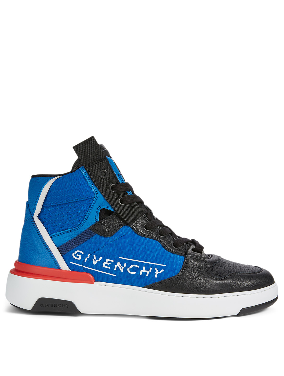 GIVENCHY Wing Leather And Nylon High-Top Sneakers Men's Blue