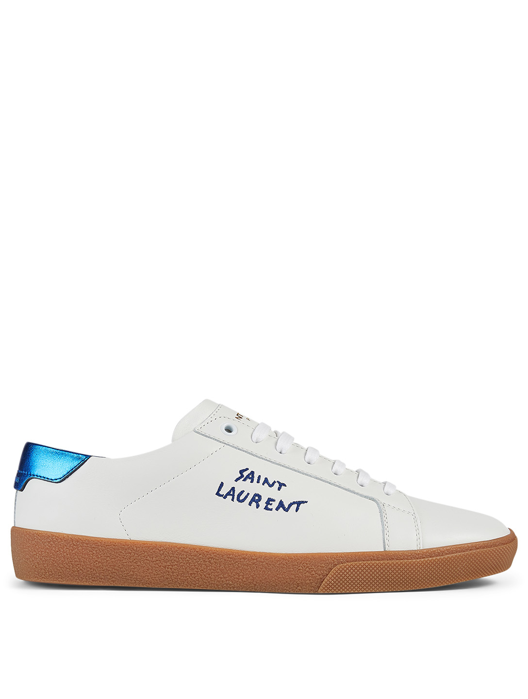 SAINT LAURENT Court Classic SL/06 Leather Sneakers With Metallic Tab Men's White