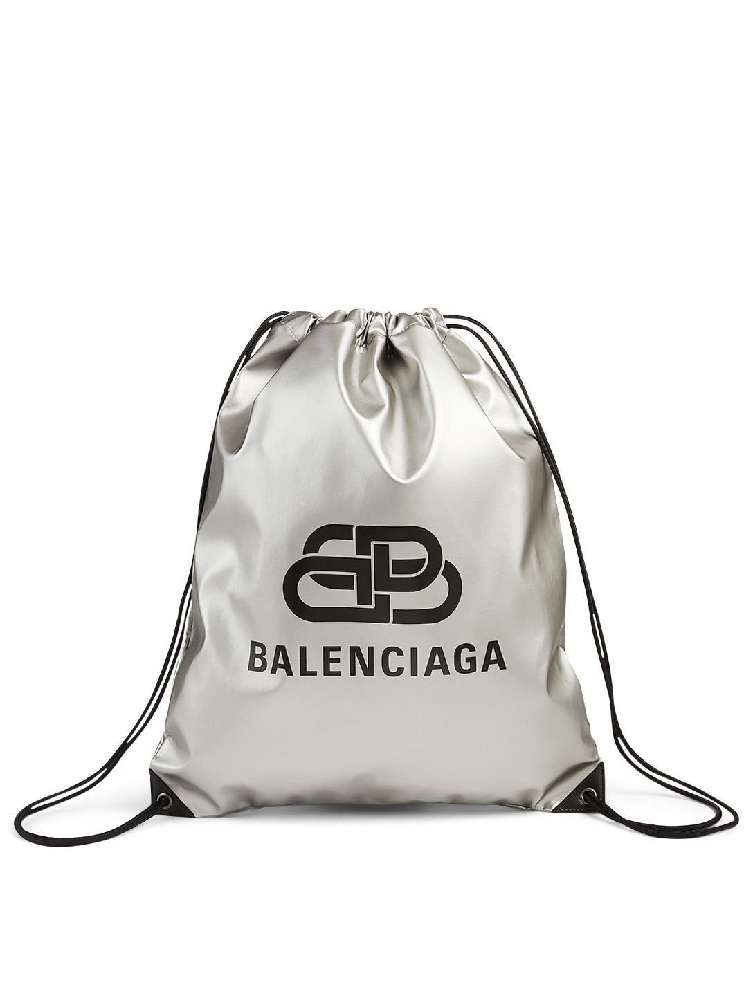 BALENCIAGA Metallic Nylon Drawstring Backpack With Logo Men's Metallic