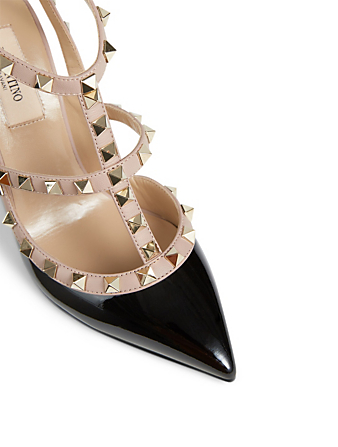 VALENTINO GARAVANI Rockstud Patent Leather Pumps With Ankle Strap Women's Black