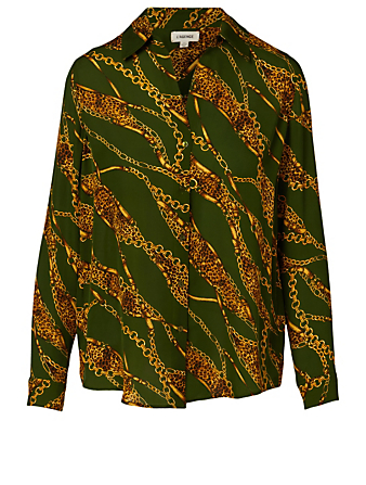 L'AGENCE Nina Silk Blouse In Chain Print Women's Green