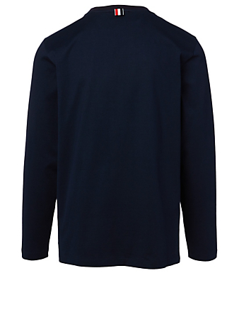THOM BROWNE Long-Sleeve T-Shirt With Side Slits Men's Blue