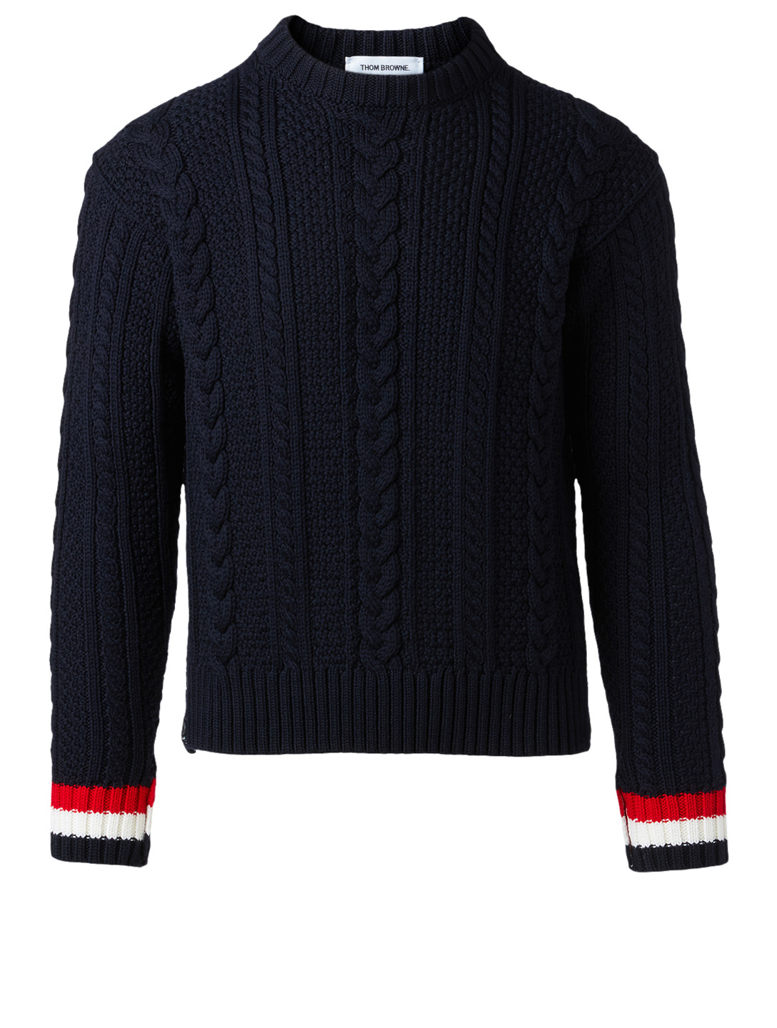 THOM BROWNE Wool Cable Knit Sweater Men's Blue