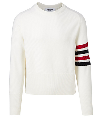 THOM BROWNE Wool Four-Bar Sweater Men's White