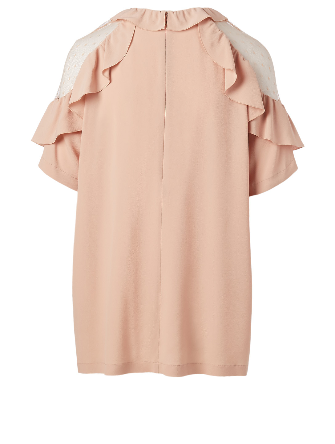 RED VALENTINO Silk-Blend Ruffle Blouse Women's Pink