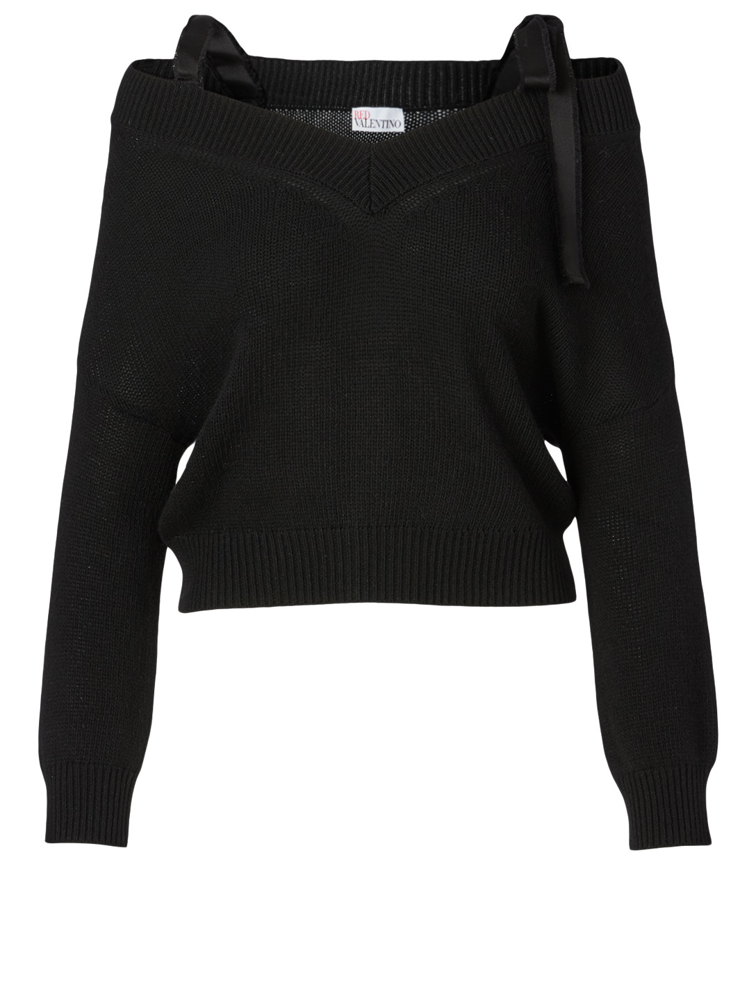 RED VALENTINO Wool-Blend Cropped Sweater Women's Black