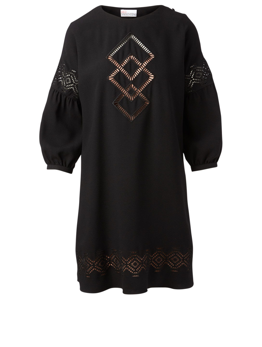 RED VALENTINO Embroidered Roundneck Dress Women's Black