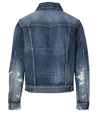 SAINT LAURENT Destroyed Denim Jacket Men's Blue