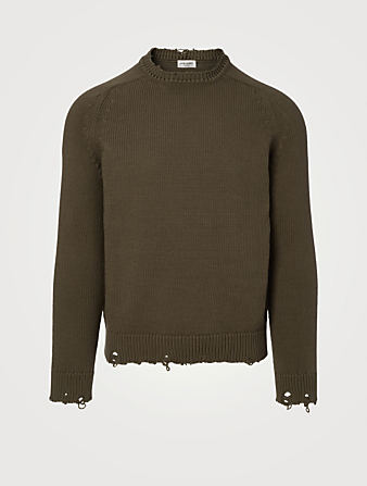 SAINT LAURENT Cotton Destroyed Sweater Men's Green