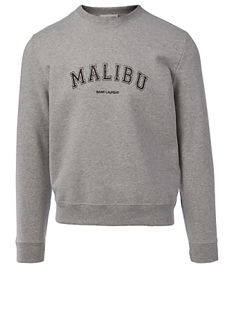 SAINT LAURENT Malibu Cotton Sweatshirt Men's Grey