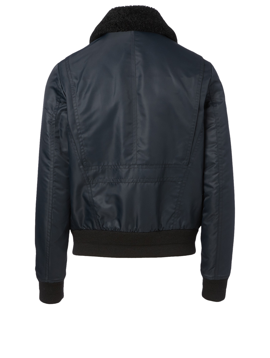 SAINT LAURENT Shearling Bomber Jacket Men's Blue