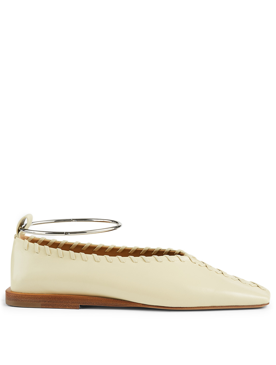 JIL SANDER Whipstitched Leather Flats With Anklet Women's Beige