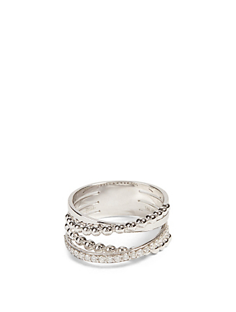 HUEB Bubbles 18K White Gold Ring With Diamonds Women's Metallic