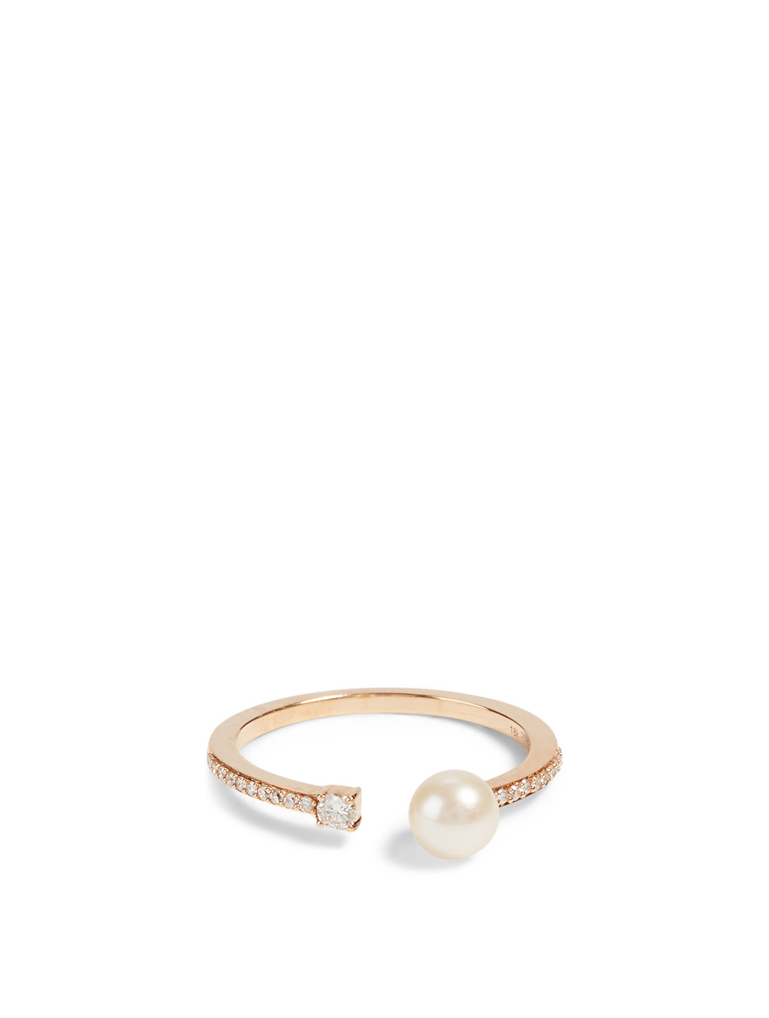 HUEB Spectrum 18K Rose Gold Ring With Diamonds And Pearl Women's Metallic