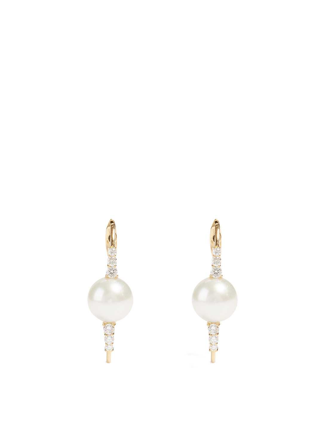 HUEB Spectrum 18K Gold Earrings With Diamonds And Pearls Women's Metallic