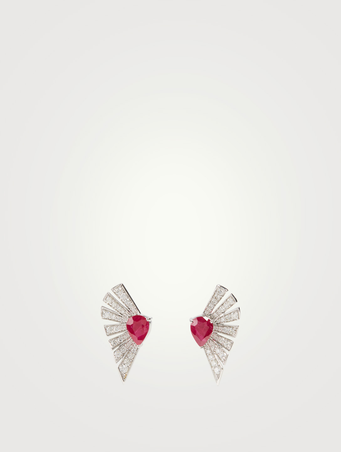 HUEB Labyrinth 18K White Gold Earrings With Diamonds And Rubies Women's Metallic