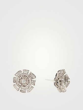 HUEB Labyrinth 18K White Gold Earrings With Diamonds Women's Metallic