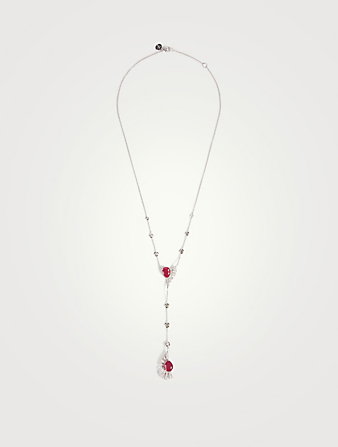 HUEB Labyrinth 18K White Gold Pendant Necklace With Diamonds and Rubies Women's Metallic