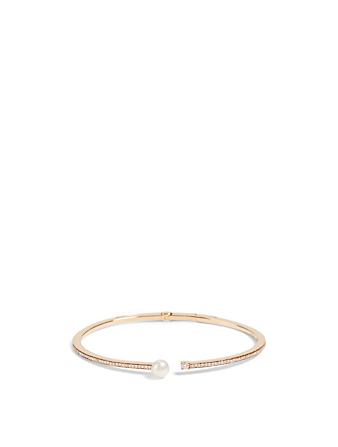 HUEB Spectrum 18K Gold Bangle With Diamonds And Pearl Women's Metallic