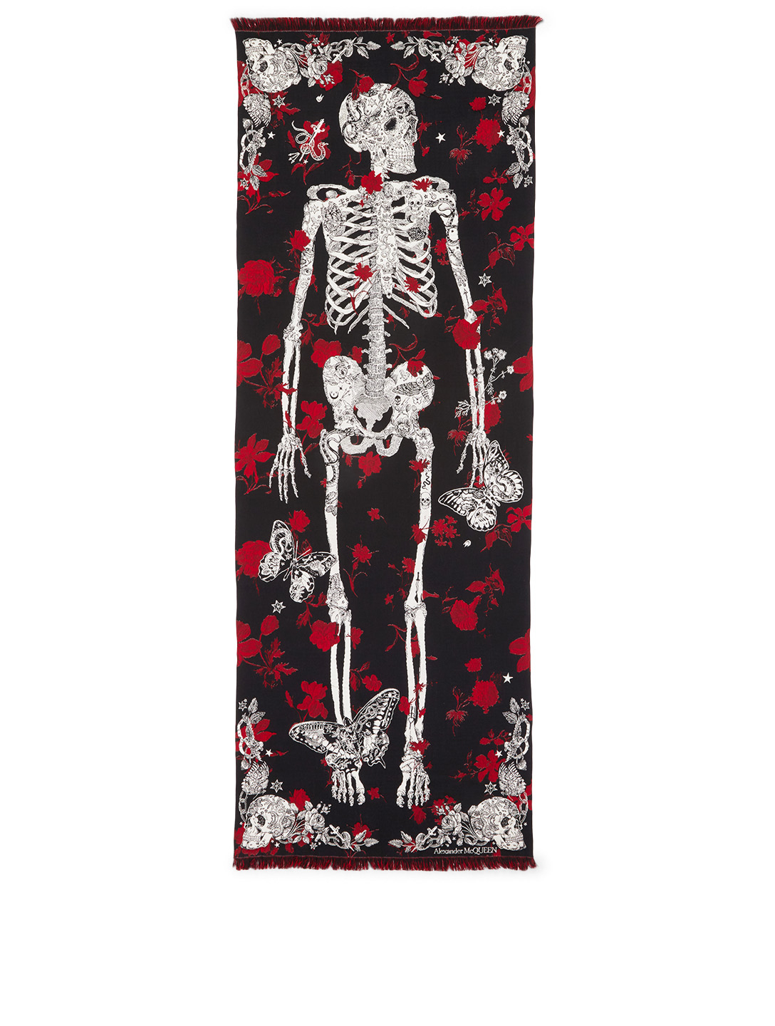 ALEXANDER MCQUEEN Tattoo Skeleton Scarf Women's Black