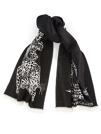 ALEXANDER MCQUEEN Wool Arrow Skull Scarf Women's Black
