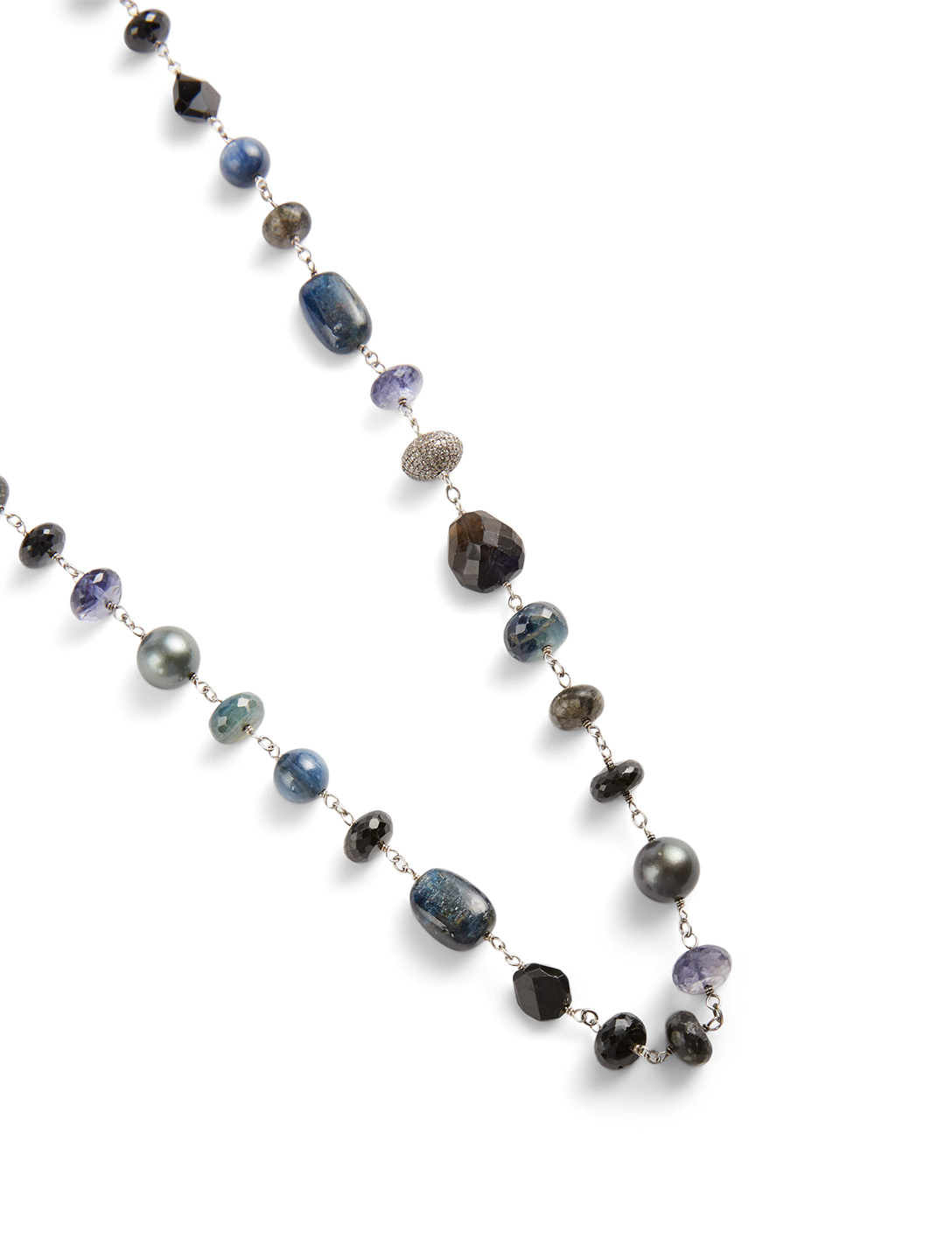 SHERYL LOWE Silver Mixed Stone Necklace With Diamonds Women's Metallic
