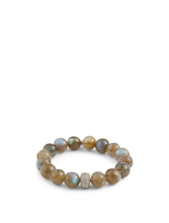 SHERYL LOWE Beaded Labradorite Bracelet With Diamond Donut Women's Metallic