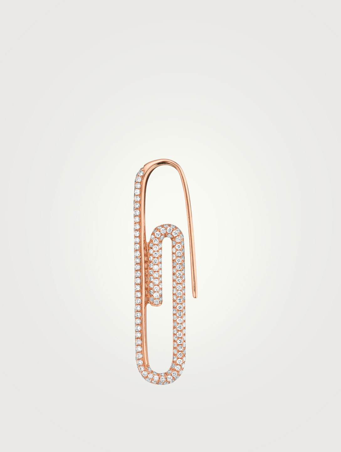 ANITA KO 18K Rose Gold Right Paper Clip Earring With Diamonds Women's Pink