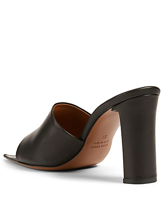 ATP ATELIER Tuturano Leather Heeled Mule Sandals Women's Black