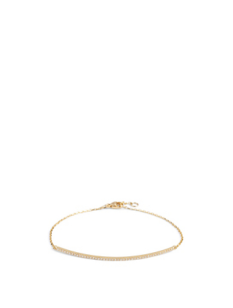 YI COLLECTION 18K Gold Bar Bracelet With Diamonds Women's Metallic