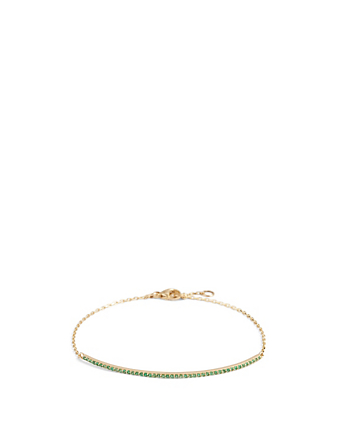 YI COLLECTION 18K Gold Bar Bracelet With Emerald Women's Metallic
