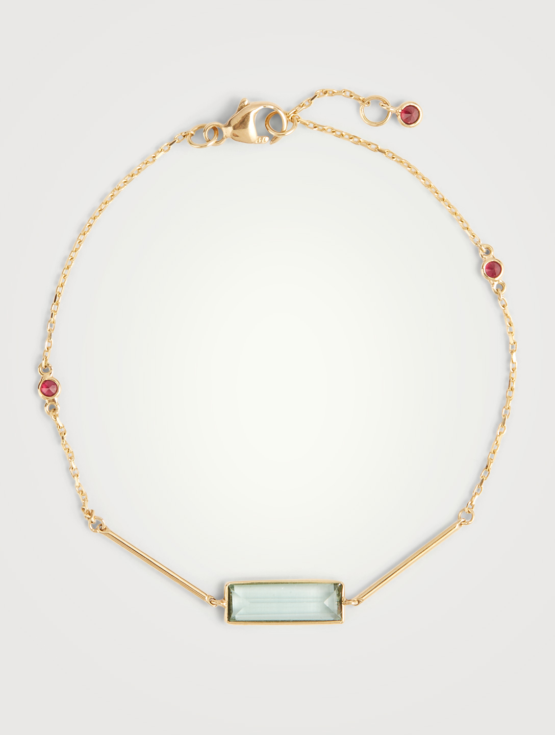 YI COLLECTION 18K Gold Green Bar Bracelet With Tourmaline And Ruby Women's Metallic