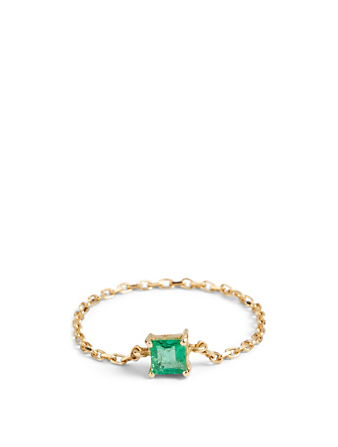 YI COLLECTION 18K Gold Emerald Chain Ring Women's Metallic