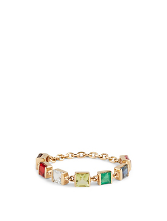 YI COLLECTION 18K Gold Chain Ring With Rainbow Stones Women's Metallic