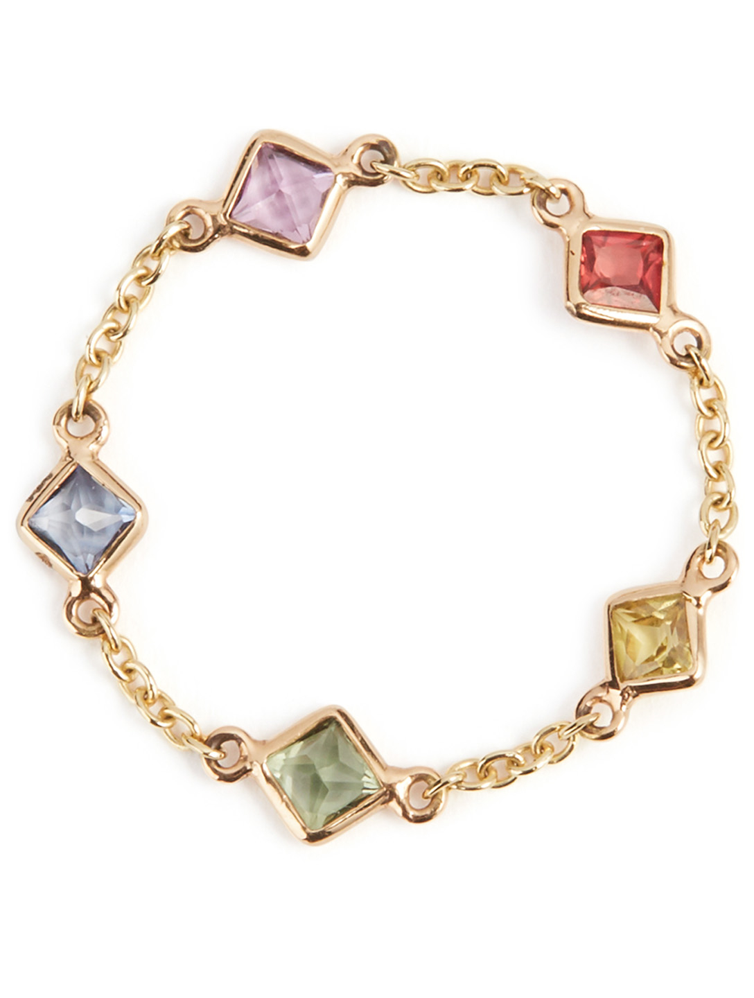 YI COLLECTION 18K Gold Sapphire Rainbow Five Stone Chain Ring Women's Metallic