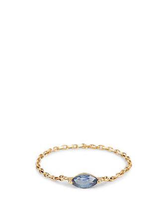YI COLLECTION 18K Gold Marquise Sapphire Chain Ring Women's Metallic