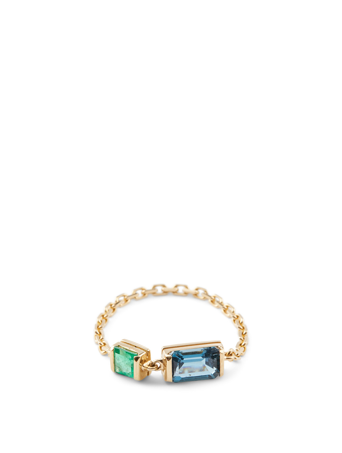YI COLLECTION 18K Gold Chain Ring With Topaz And Emerald Women's Metallic