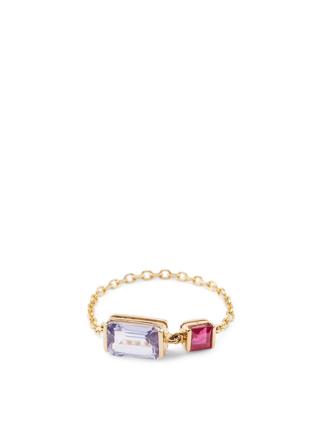 YI COLLECTION 18K Gold Chain Ring With Tanzanite And Ruby Women's Metallic
